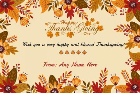 Best Autumn Thanksgiving Wishes Cards With Name Editor
