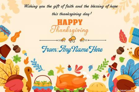 Write Your Name On Thanksgiving Wishes Card Online