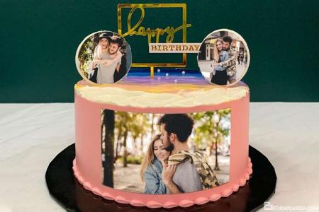 Print 3 Photos On Pink Birthday Cake Online