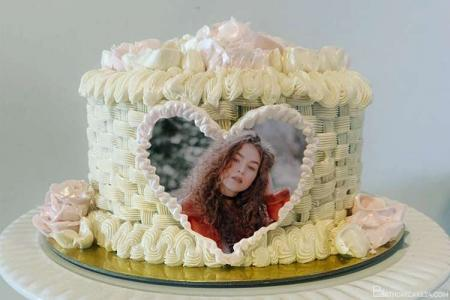 Photo On Heart Shaped Butter Cream Birthday Cake