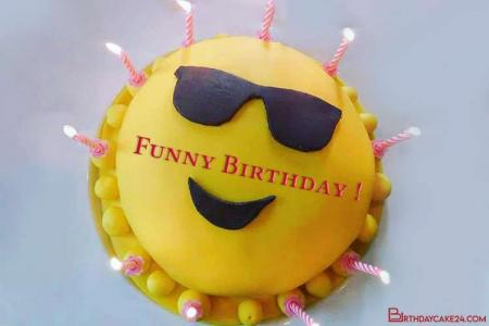 Write Name Wishes on Funny Birthday Cake Images
