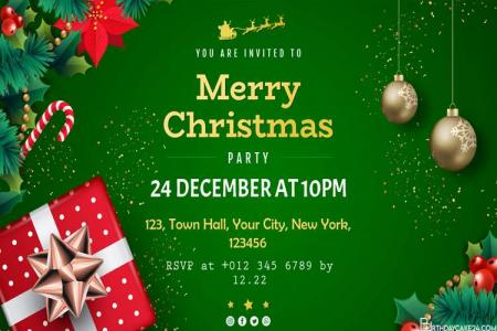 Green Background Christmas Party Invitation Card With Ornaments