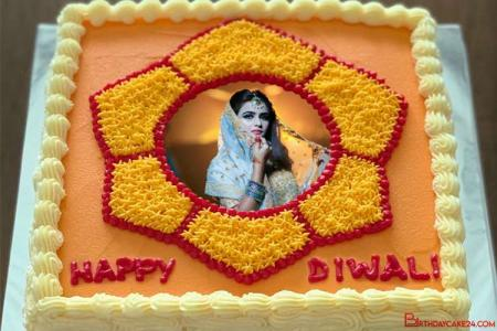 Happy Birthday Cake For Diwali With Photo Frames