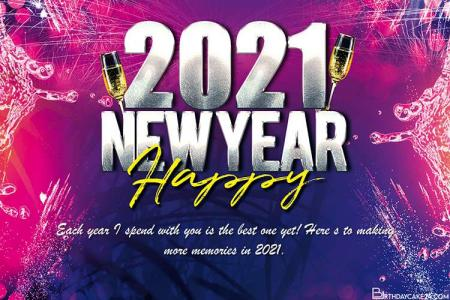Happy New Year 2021 Wishes Card Maker Online
