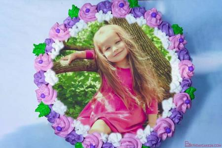 Lovely Flowers Cream Cake With Photo Editing
