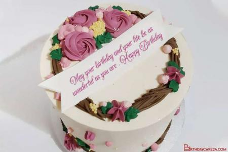 Beautiful Flowers Birthday Cake With Name Or Wishes Online