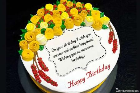 Beautiful Yellow Rose Birthday Cake With Name Wishes