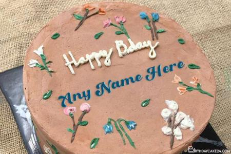 Yummy Flower Birthday Cake With Name Generator