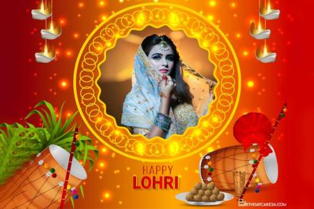 Sparkling Happy Lohri Photo Frames Online Editing