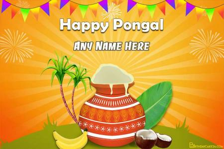Happy Pongal 2021 Wishes Card With Name Edit