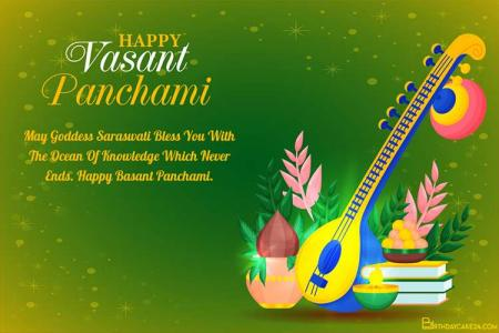 Happy Vasant Panchami Greeting Card Images Download
