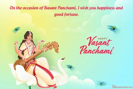 Write Name Wishes On Vasant Panchami Greeting Cards Online