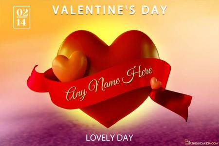Love Heart Happy Valentines Day Wishes With Name