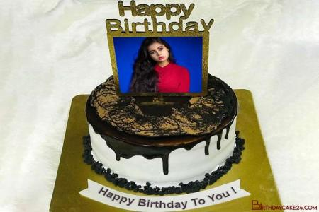 Chocolate Birthday Wishes Cake Template With Name And Photo