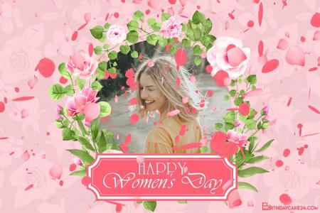 Create March 8 Greeting Video On Rose Background With Your Photo