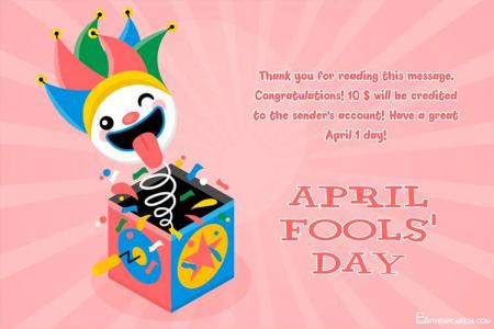 April Fools' Day Greeting Card With Surprise Box