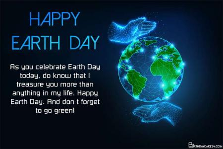 Happy Earth Day Greeting Cards With Glowing Globe