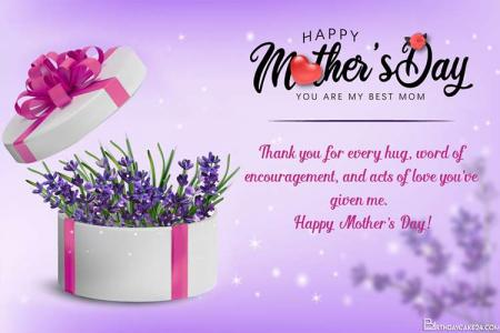 Happy Mothers Day Wishes Card With Lavender Gift Box