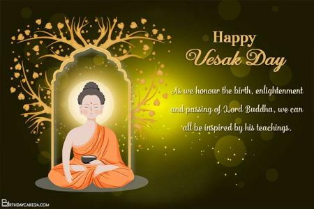 Realistic Lord Buddha Vesak Day Greetings Card