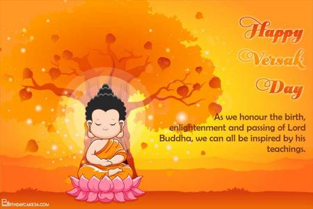 Free Happy Vesak Day Buddha Purnima Cards Maker Online