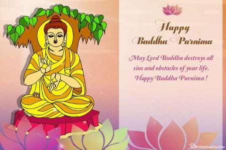 Happy Buddha Purnima Wishes Card for 2021