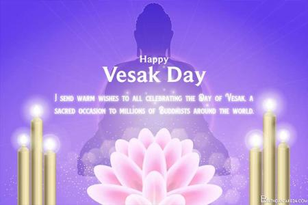 Happy Vesak Day Card With Glitter Lotus Background