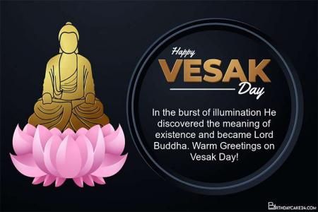 Vesak Day Cards With Buddha Modern Black Background
