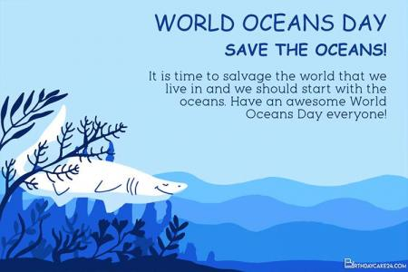 Free World Oceans Day Cards  Images Download