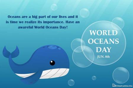 Happy World Ocean Day Personalised Cards