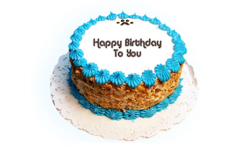 Text Blue Birthday Cake