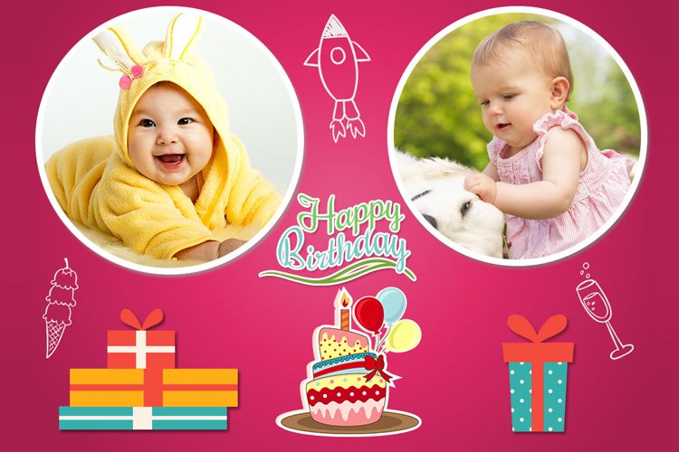 Double happy birthday photo frame