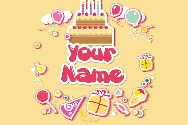 Greeting card birthday with name