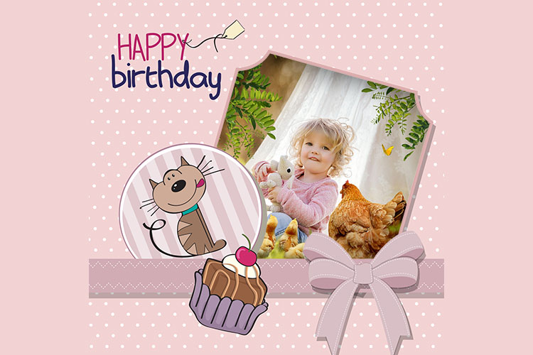 Frame Birthday With Cute Cat