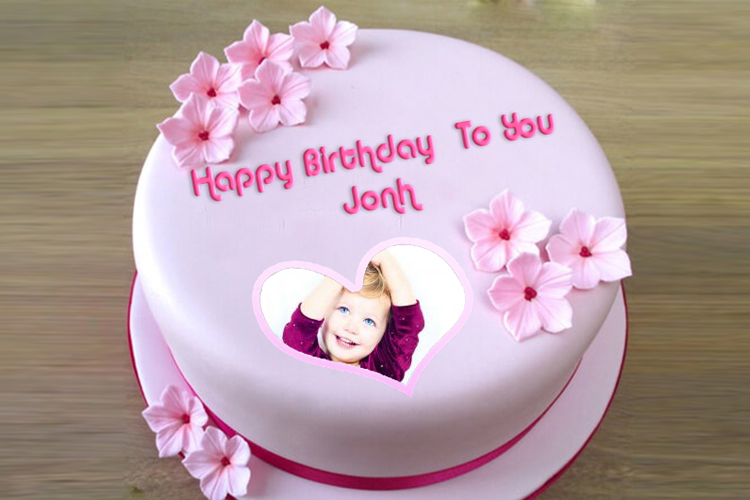Write A Greeting On The Pink Birthday Cake With Photo