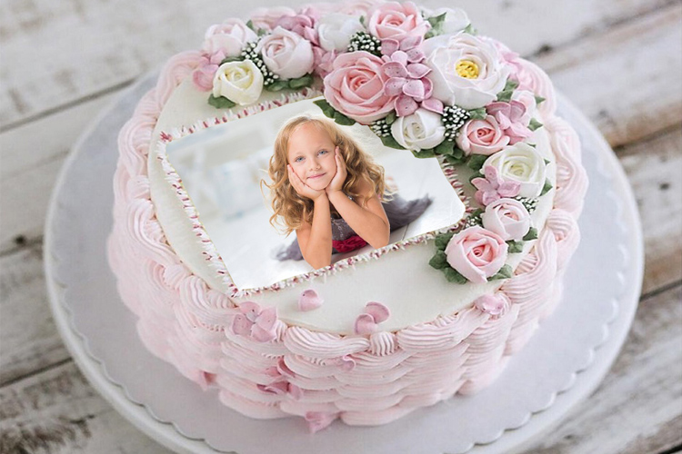 Birthday Cake Flower With Photo