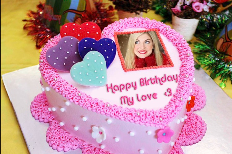 Marvelous Photo Frame Birthday Cake And Heart Name Personalised Birthday Cards Veneteletsinfo