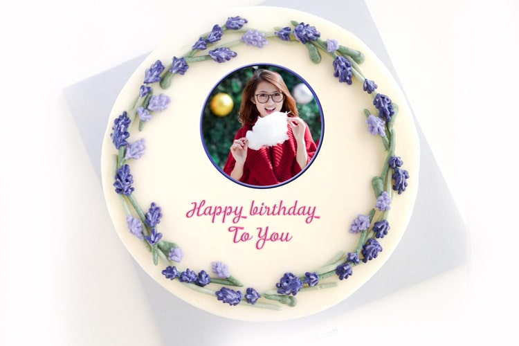 Happy birthday cake with photo and wish