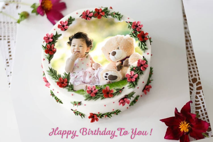 Birthday Cake Flower With Photo And Wish
