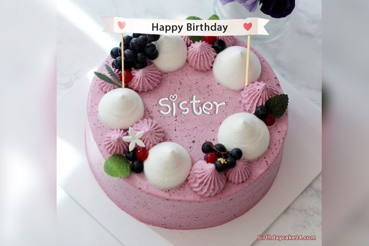 Wondrous Happy Birthday Cake For Sister With Name Personalised Birthday Cards Paralily Jamesorg