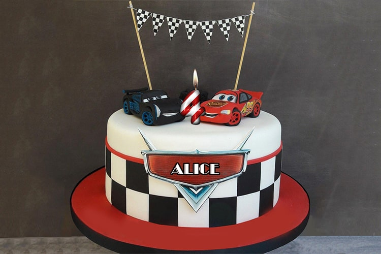 Car Birthday Cake For Boys With Name And Age Number