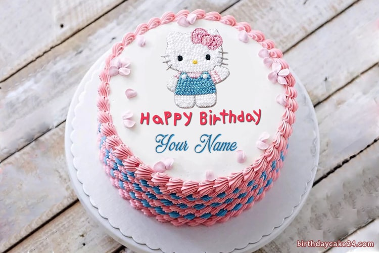 Tremendous Lovely Hello Kitty Birthday Cake With Name Personalised Birthday Cards Cominlily Jamesorg