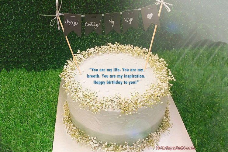 Sweet Birthday Cake With Name And Wishes For Your Wife