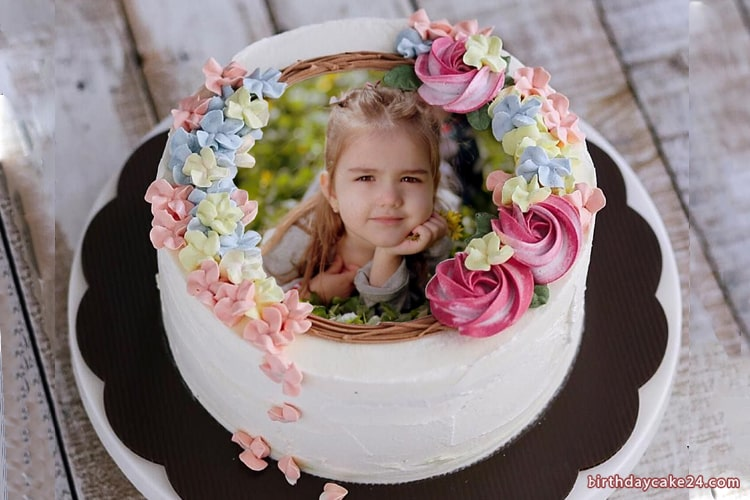 Lovely Birthday Cake Effect For Friends With Photo