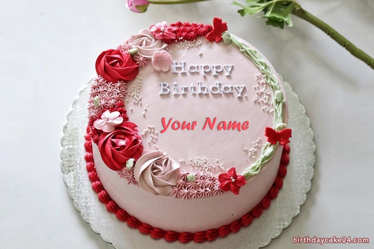 Beautiful Rose Cake With Name For Everyone