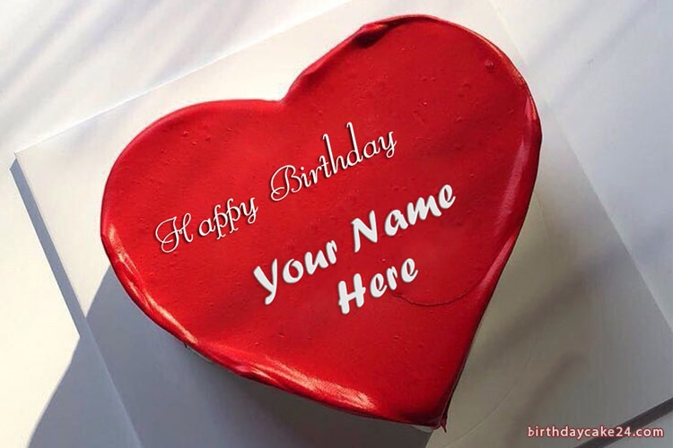Red Heart Birthday Cake With Name For Lover