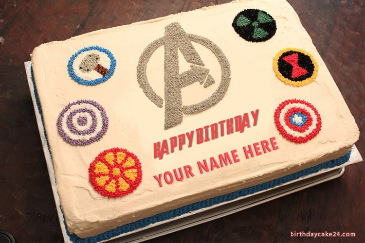 Stupendous Write Name On Avengers Birthday Cake Funny Birthday Cards Online Alyptdamsfinfo