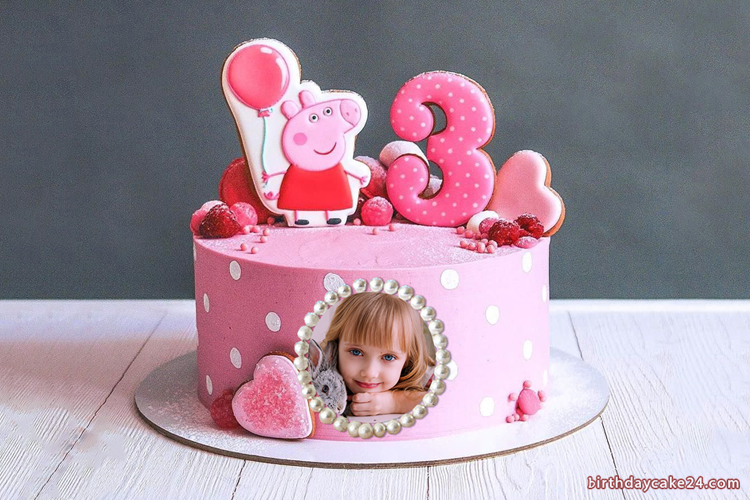 Terrific Cute Peppa Pig Birthday Cake For 3 Year Old With Photo Personalised Birthday Cards Veneteletsinfo