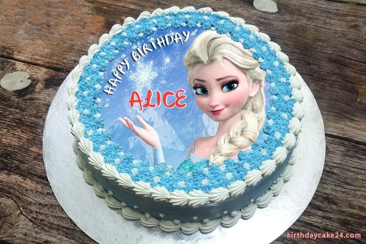 Terrific Frozen Elsa Birthday Cake With Name Funny Birthday Cards Online Unhofree Goldxyz