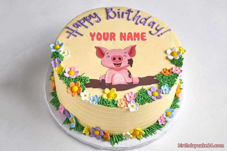 Outstanding Lovely Pig Happy Birthday Cake With Name Funny Birthday Cards Online Necthendildamsfinfo