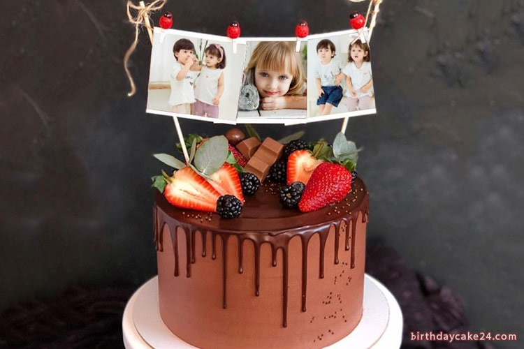 Birthday Cake With Many Photos